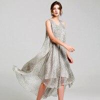 silk floral dress summer maxi women beach 2018 dresses long plus size boho sexy party casual elegant bandage loose white sketch