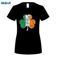 GILDAN New Arrival Vintage Irish Flag Shamrock Women S Premium T Shirt Male O Neck T