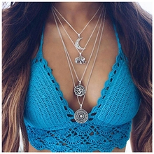 Retro Gothic Elephant Moon Multi-layer Necklace Choker Trend Explosion Black Silver Ladies Pendantjewelry Accessories Collier
