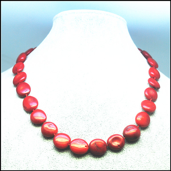 Choker Coral Necklace Coral Beads Strings Size 10mm 14mm Necklace Length 17.5 Inches For Women Garments Wearing