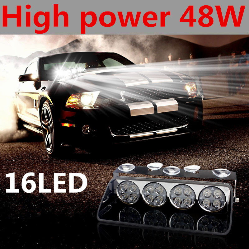 ФОТО 48W Windshield Led Strobe Light Car Flash Signal Emergency Fireman Police Beacon Warning Light S16 Viper Spotlights Red Blue