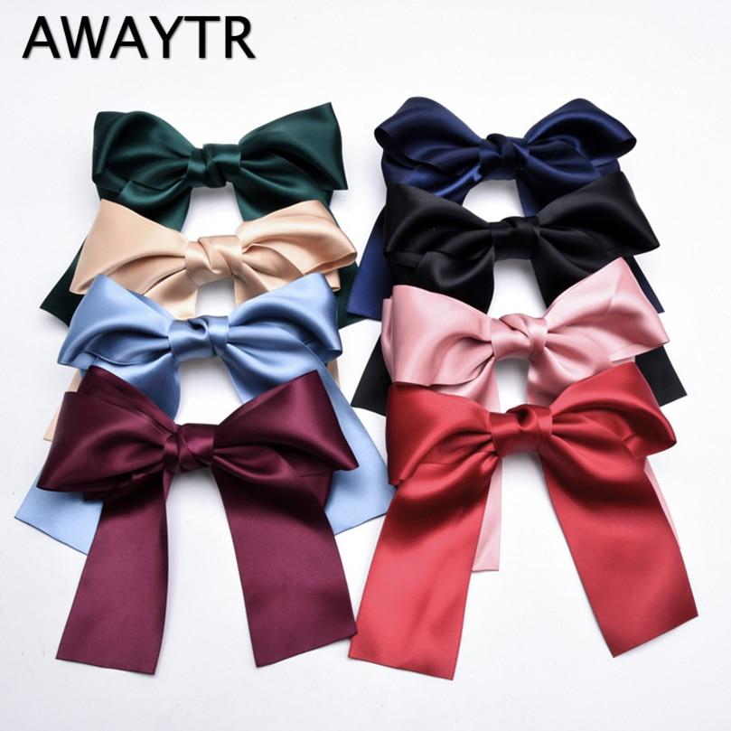 AWAYTR New Long Ribbon Bowknot Hairclip For Women Headwear Korean Fashion Large Bow Hairpin for Girls Ladies Hair Accessories