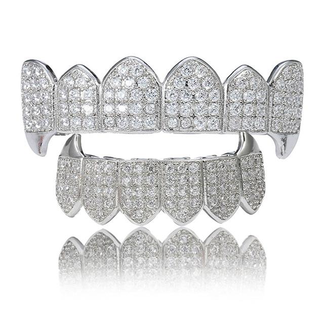 Новые клыки хип хоп белый циркон золото вампирские зубы
