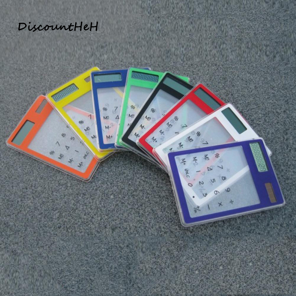 ЖК-дисплей 8-значный Сенсорный экран ультра тонкий прозрачный солнечный калькулятор ясно, канцелярские научный калькулятор школьные офисн...