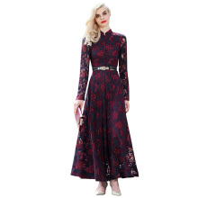 2016 Autmn Lace Dress Women Long Sleeve Maxi Dresses Stand Collar Fit Flare Robe Robe Longue Femme Big Size XXL