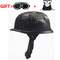 NEW German Motorcycle WWII Style Half Helmet Chopper Biker Pilot Goggles Open Face Moto Motocicleta With