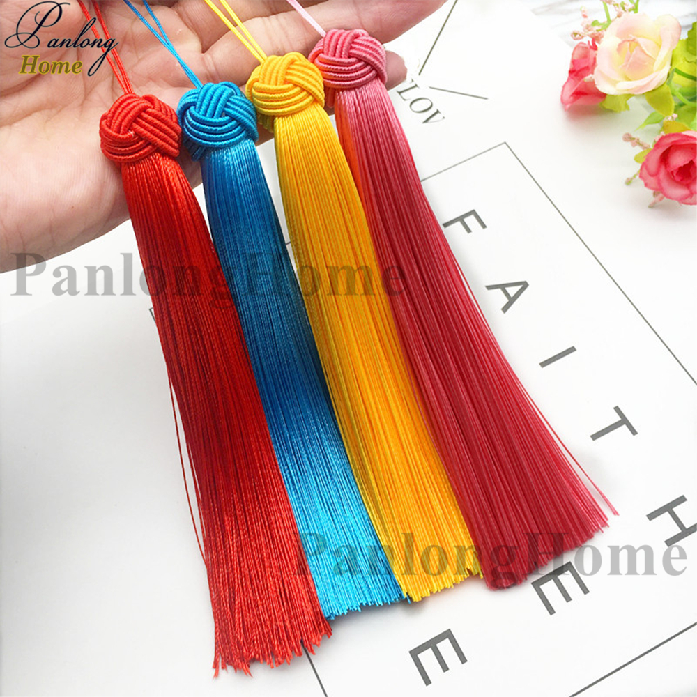 PanlongHome 15cm Long Tassel Fringe Hanging Spike DIY Handmade Knitting Chinese Knot Hair Hat Hanger Earrings-pompons