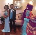 Moda Chiffon frisada O Neck sereia luz azul de duas peças marrom longo vestidos de baile 2016 Zipper Up trem tribunal 51291