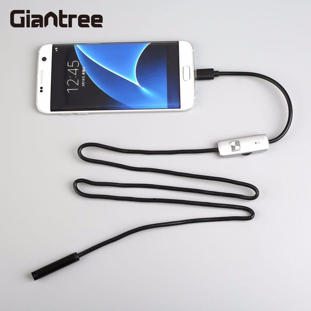 Giantree 7mm 1M Phone Endoscope IP67 Borescope LED Video Camera Snake Pipe Inspection Android OTG Micro USB Borescope Camera fb 7mm lens usb endoscope 6 led ip67 waterproof camera endoscope 1m mini camera mirror as gift android otg phone endoscopio