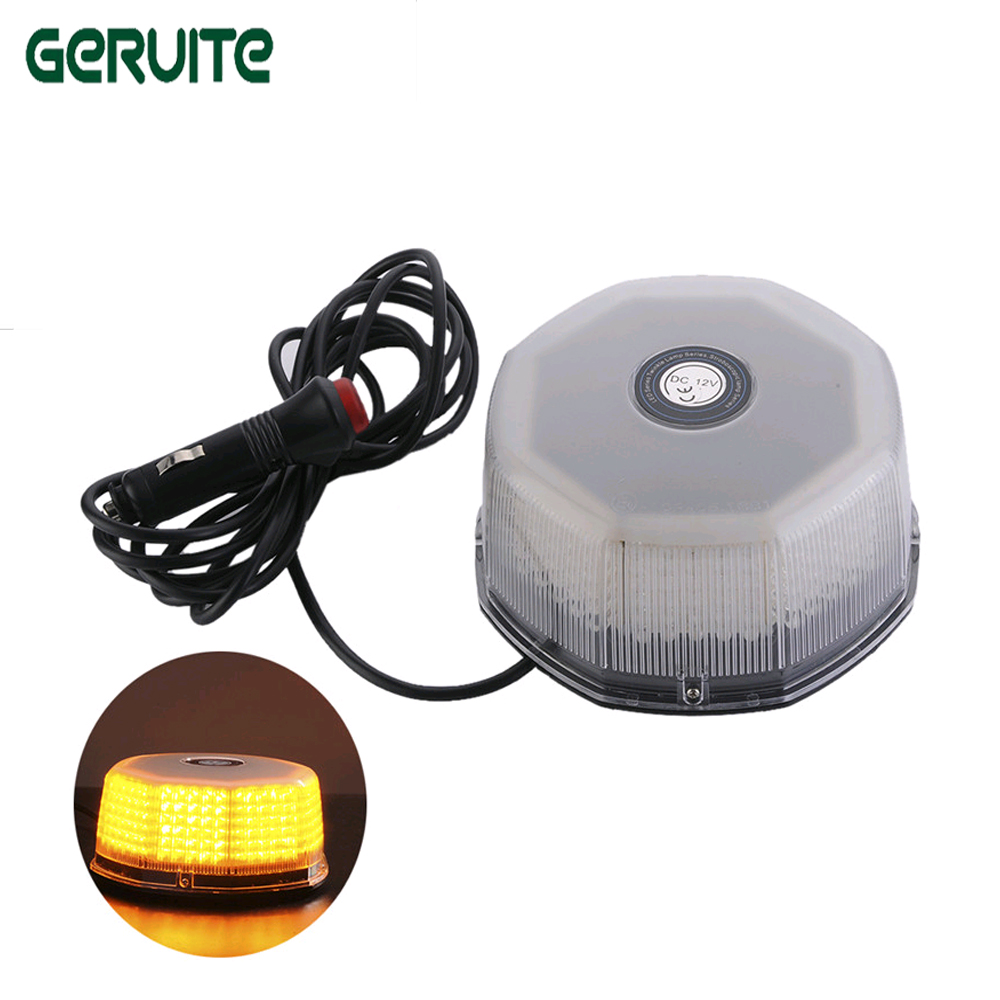 32 LED Amber Magnetic Beacon Light Emergency Warning Strobe Yellow Roof Round 12V Cigarette plug for power 6units case rechargeable roadway traffic safety led anti collision warning lights beacon roof emergency light waterproof