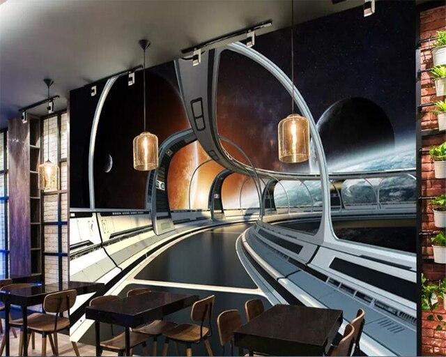 Beibehang-papier peint papel de paréo   3d, décoration murale science-scène, papier peint de fond de bar KTV, 3D