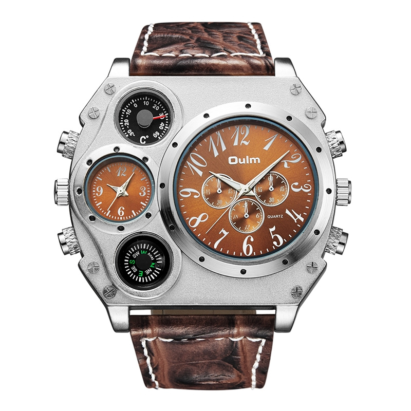 Oulm Unique Designer Brand Male Sports Watch Multiple Time Zone Quartz Watches Big Face Casual Wristwatch Mens Military Watch brand oulm 9316b japan movt big face watches men triple time rose gold luxury analog digital casual watch relogio male original