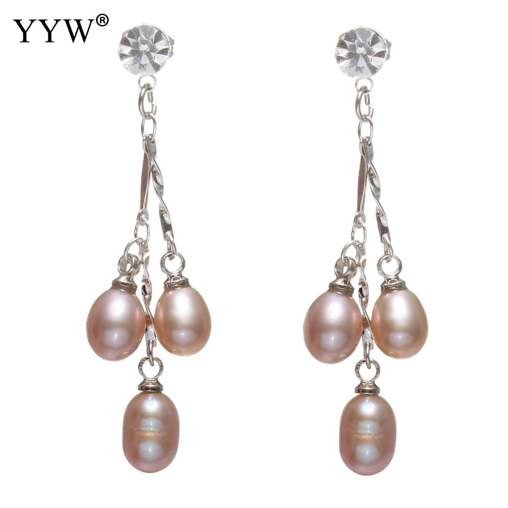 Natural 6-7mm Black Cultured Freshwater Pearl Silver Hook Dangle Earrings