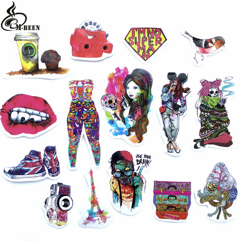 15Pcs/Lot Sexy Beauty Tatoo Girls Red lips Graffiti Stickers For Laptop Car Pad Skateboard Phone Bicycle Decal Toy Stickers