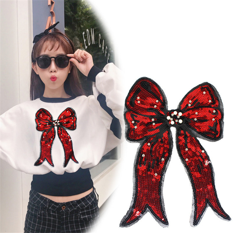 Fashion beading sequins Icon 31cm red bow patches for clothing embroidery biker patch applique clothes t shirt women stickers