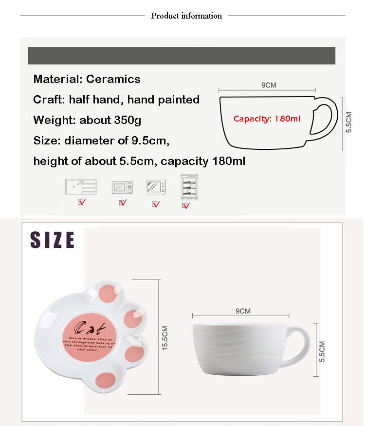 Cartoon Cute Cat Mug Cup Set Creative Milk Tea Drink Breakfast Ceramic Cups Plates Coffee Animal Cup Heat-resistant Lovely Gift (1)