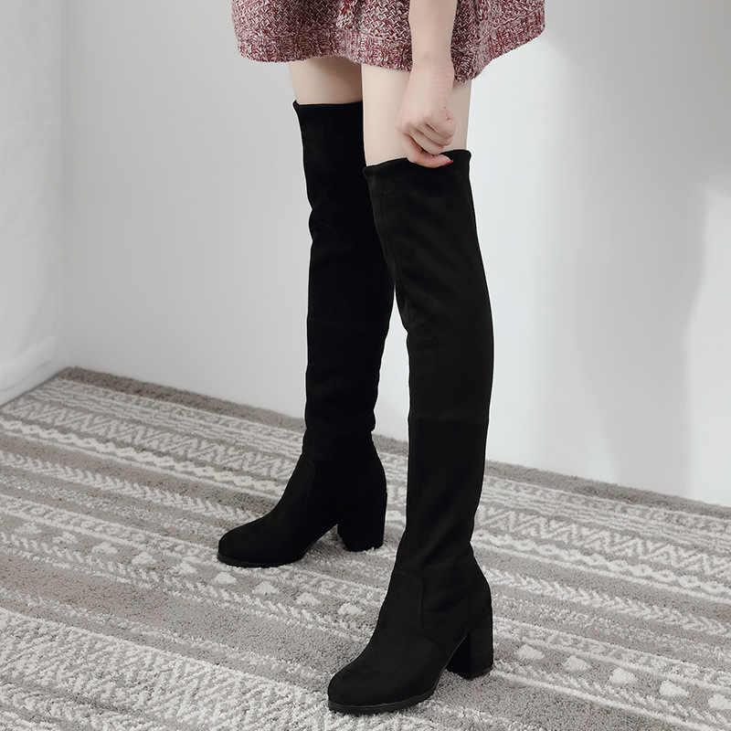 Sexy Slim Fit élastique troupeau sur le genou bottes femmes chaussures 2019 automne hiver dames talon haut longue cuisse haute botas