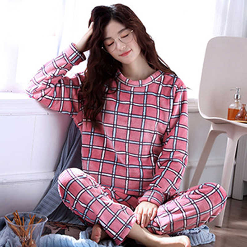 נשים של פיג 'מה סתיו וחורף פיג' מה סט נשים ארוך שרוול הלבשת פלנל חם יפה חולצות + מכנסיים שינה Pyjama נקבה