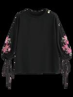 2017 Nuovo Autunno Nuove Donne di Stile di Modo Girly Coulisse Manica Floreale Ricamato Camicetta Girocollo 3/4-Length? Manicotto camicetta