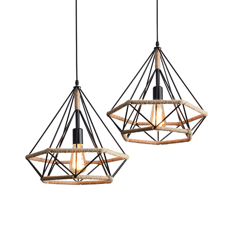 Us 31 2 20 Off Retro Vintage Hemp Rope Handmade Pendant Lights Fixture Loft Industrial Style Kitchen Room Iron Hanging Lamps Cafe Home Decor In