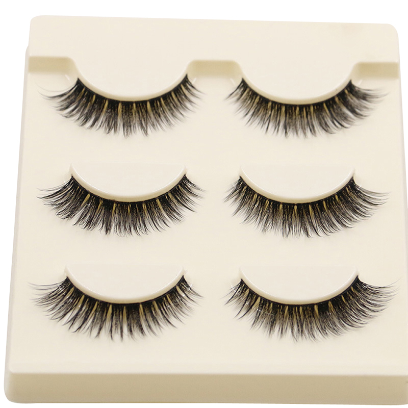 3Pairs Fashion Woman Eye Makeup Extention Fake Eyelashes Handmade 3D Long Natural Bushy Thick False Eyelashes Eye Lashes