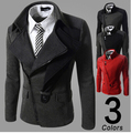 New 2016 Men's fashion leisure inclined zipper jacket autumn and winter  Male leisure fashion coat of cultivate one's morality