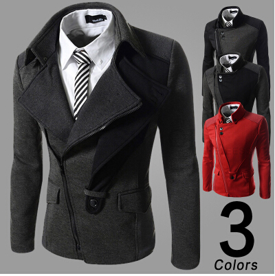 New 2017 Men s fashion leisure inclined zipper jacket autumn and winter Male leisure fashion coat