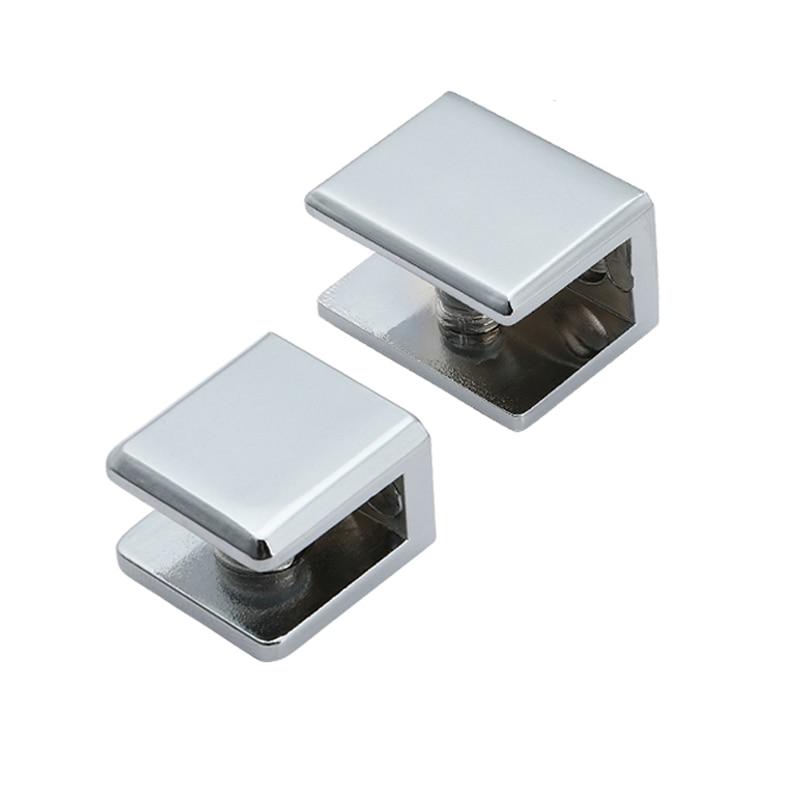 2pcs/lot Square Shape Zinc Alloy Glass Clamp Bracket Glossy Shiny Shelf Support Can Clamp 6mm/10mm/12mm