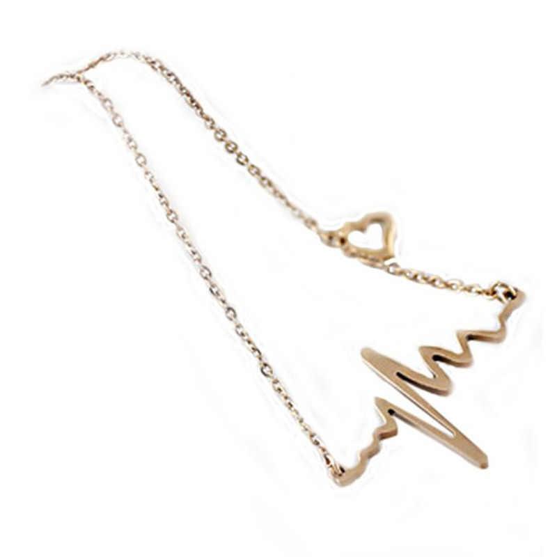 Stylowy dziki naszyjnik luksusowy długi naszyjnik EKG naszyjnik rytm serca z miłością w kształcie serca wysokiej jakości złoto L0326