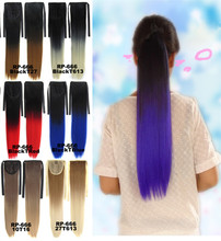 1pcs Clip in Ribbon Ponytail Hairpieces Straight Wrap Clip False Ponytail Drawstring With Clip in Ombre Ponytail Hair Pieces