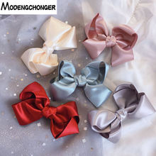 Grosgrain Ribbon Solid Hair Bow Clips Big Butterfly Hairgrips Barrette Boutique Cloth Girls Kids Hairpins Accessories