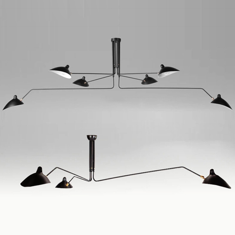 цена на Nordic Ceiling Lamp 3 Arm 6 Arm Serge Mouille Ceiling Lights Duckbill Replica Rotating Dining Room Lighting Lamps White/Black