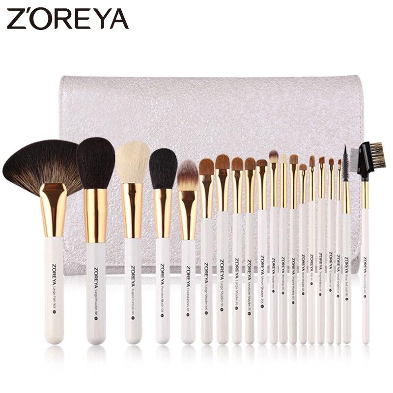 Conjuntos Marca Zoreya 20 pcs Pincéis De Maquiagem de Luxo Super Qualidade Do Cabelo Animal Nylon Escova Cosmética Profissional Ferramentas de Grande Fã