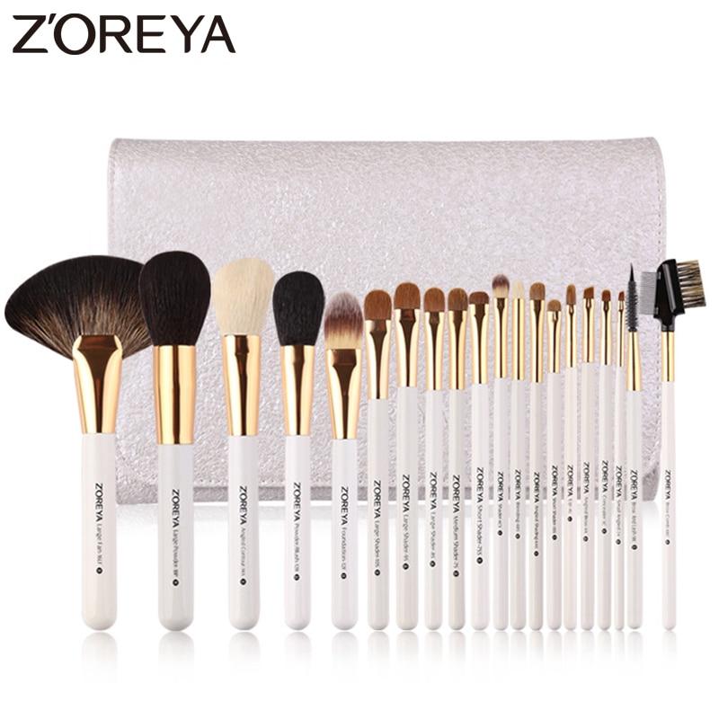 цена на Zoreya Brand 20pcs Luxury Makeup Brushes Sets Super Quality Animal Hair Nylon Cosmetic Brush Professional Large Fan Tools