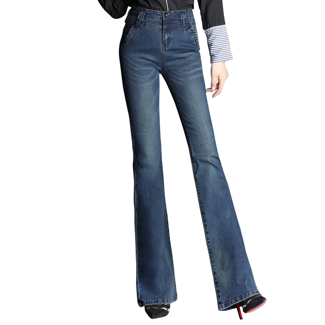 de21049fe29a3 Women S Slim High Waist Boot Cut Jeans Female Fashion Bell Bottom Trousers  Comfortable Flares Pants Wide Leg Denim Jeans
