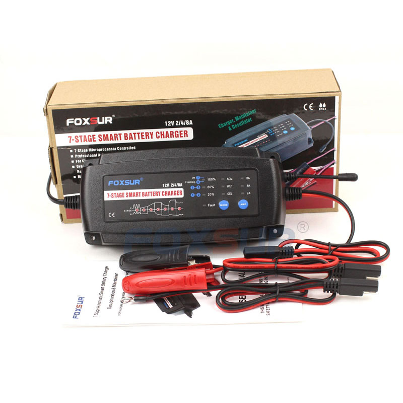 FOXSUR 12V 2A 4A 8A 7-stage smart Battery Charger, GEL WET AGM Battery type, Car battery charger, 110V AC inputFOXSUR 12V 2A 4A 8A 7-stage smart Battery Charger, GEL WET AGM Battery type, Car battery charger, 110V AC input