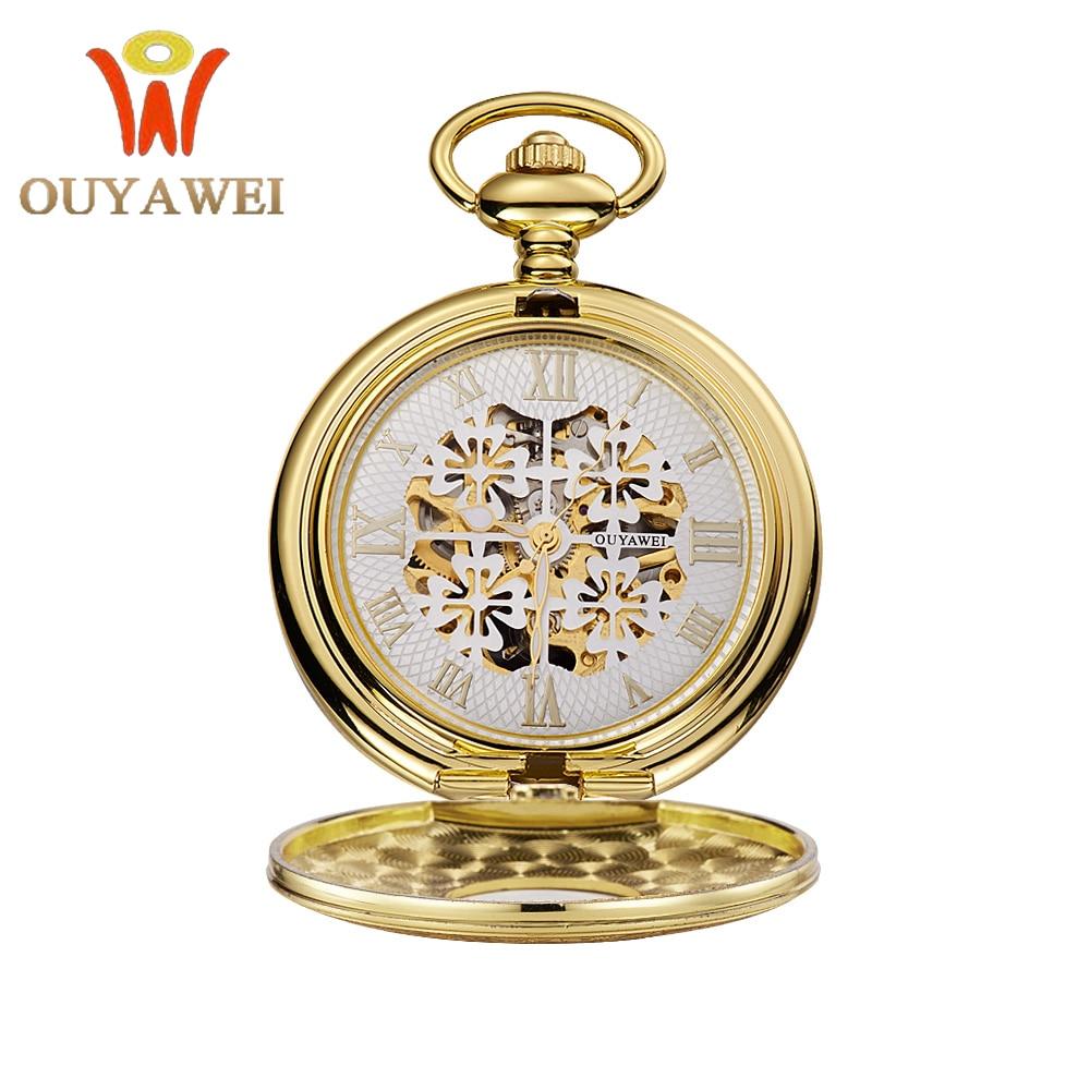 OUYAWEI Men's Women's Mechanical Movement Hollow Case Skeleton Dial Rome Numbers Classique Pocket Watch