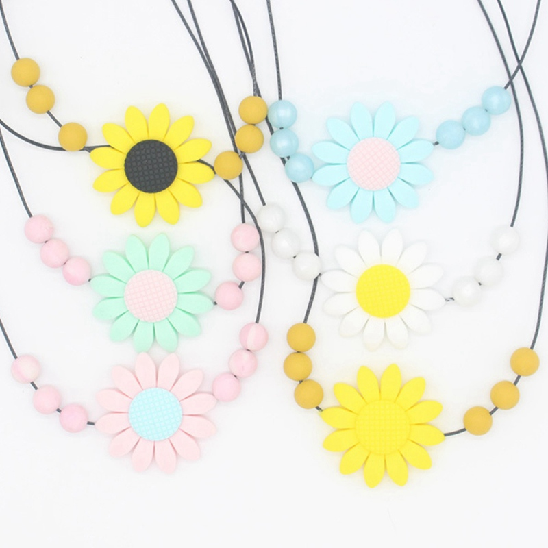Baby Chew Silicone Beads Teething Necklace Nursing Jewelry BPA Free Flower Pendant Baby Teether Necklace ...