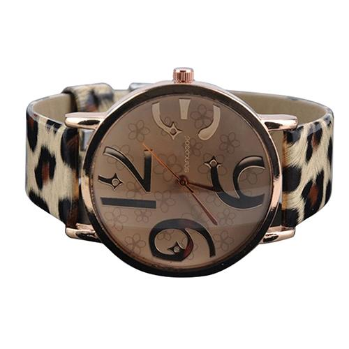 Watches Women's Casual Flower Big Numbers Dial Faux Leather Strap Quartz Wrist Watch Ladies Watch