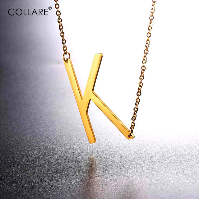 Collare Choker Statement Necklace Gold/Black Color Stainless Steel Letter K  Necklace Women Fashion Alfabet Initial Jewelry N013