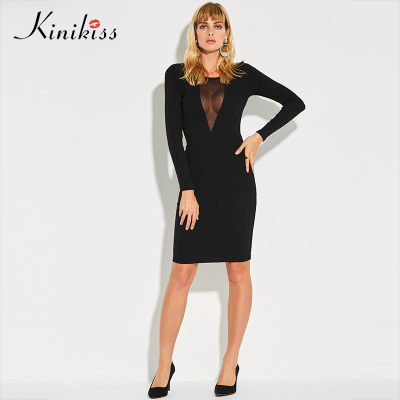 Kinikiss 2017 Black Mesh Dress Women Sexy Party Club See Through Bodycon Knitted Dresses Feminine Hollow Out Sexy Sweater Dress mesh see through cut out crochet tights