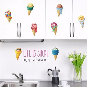 % colorful summer Ice Cream wall sticker decal kids room kitchen children bedroom food shop decor mural Art Poster Wallpaper(China)