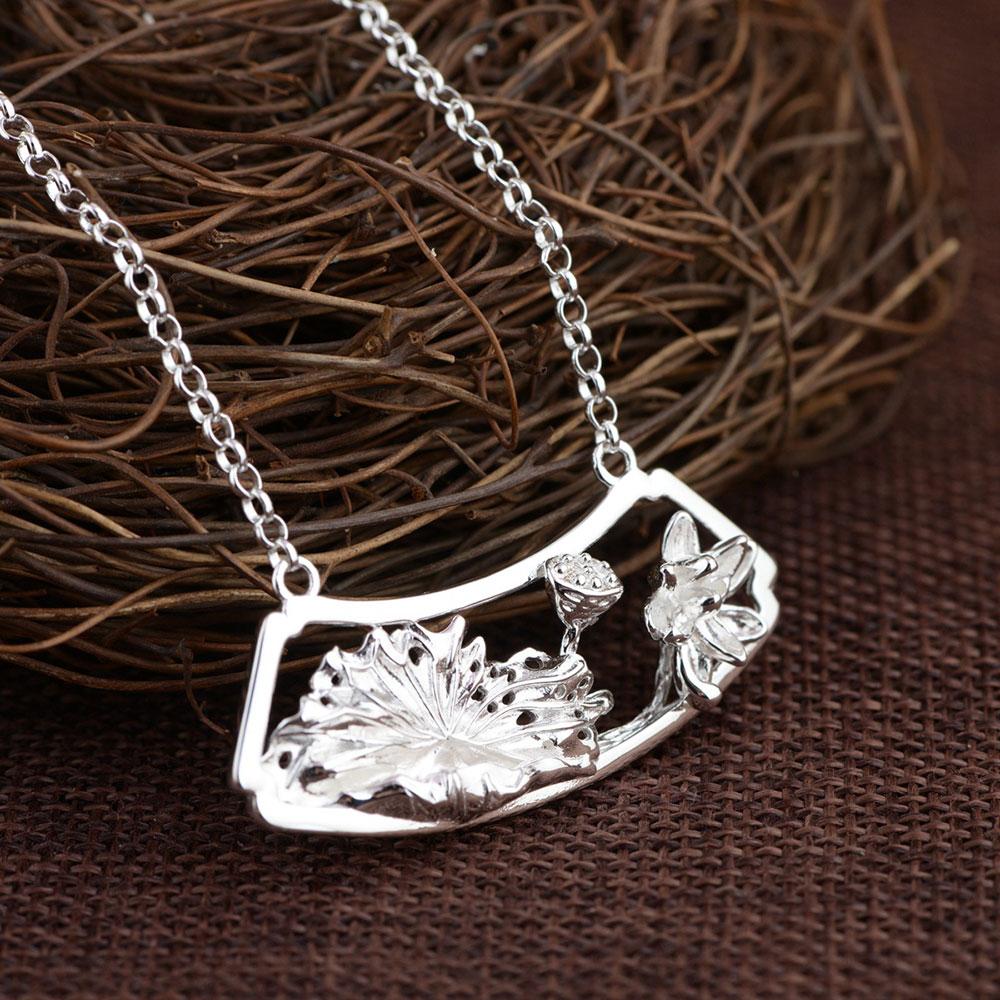 925 Silver Lotus Flower Pendant Necklace For Women Accessorice 45cm