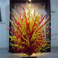 Murano Red and Yellow Glass Floor Lamp Garden Outdoor Sculpture for Hotel Art Decoration Hand Blown Murano Glass Sculptures