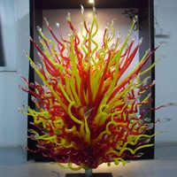 Murano Rot und Gelb Glas Boden Lampe Garten Im Freien Skulptur für Hotel Kunst Dekoration Hand Geblasen Murano Glas Skulpturen