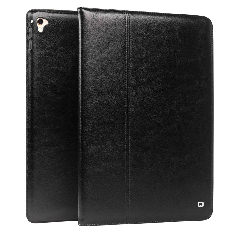 цены QIALINO Slim Coque for iPad Pro 9.7 Genuine Leather Case Folio Bracket Stand Flip Card Slot Cover for iPad Air 2 Leather Case