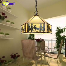 FUMAT Stained Glass Pendant Lamp Baroque Glass Lamp For Living Room Dining Room LED Lights Kitchen Mulit color  Pendant Lights