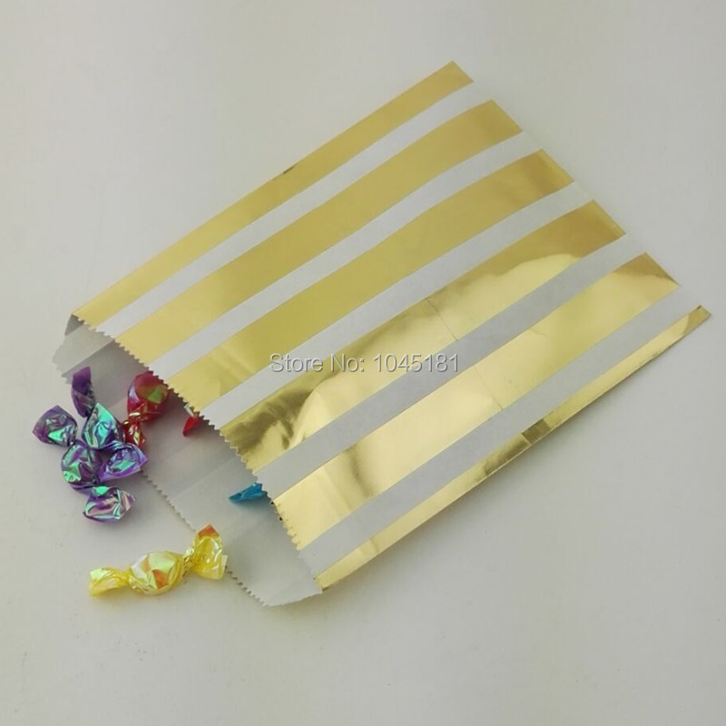 ipalmay 125pcs Small Paper Party Candy Bags 5*7inch Metallic Gold Gift Bags for Wedding Birthday Party Candy Shop