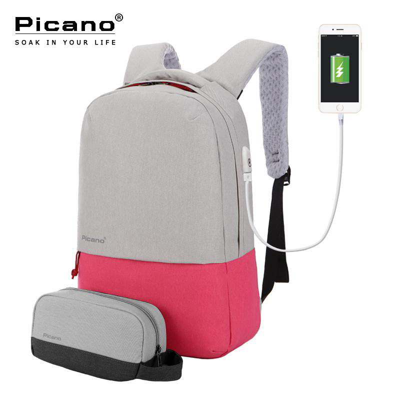 Picano 2 PCS Set Women Backbag Pink Nylon Waterproof Laptop Backpack Female School bag For Girl