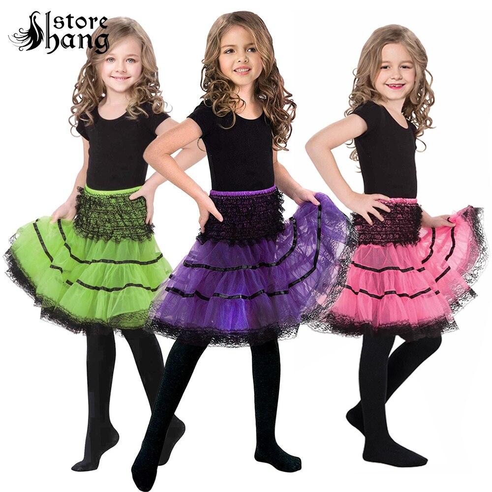 Kids Crinoline Slip 1950s Petticoat Knee-length Circular Skirt Vintage Style Tulle Pleated Tutu Lace Underskirt 4 Colors